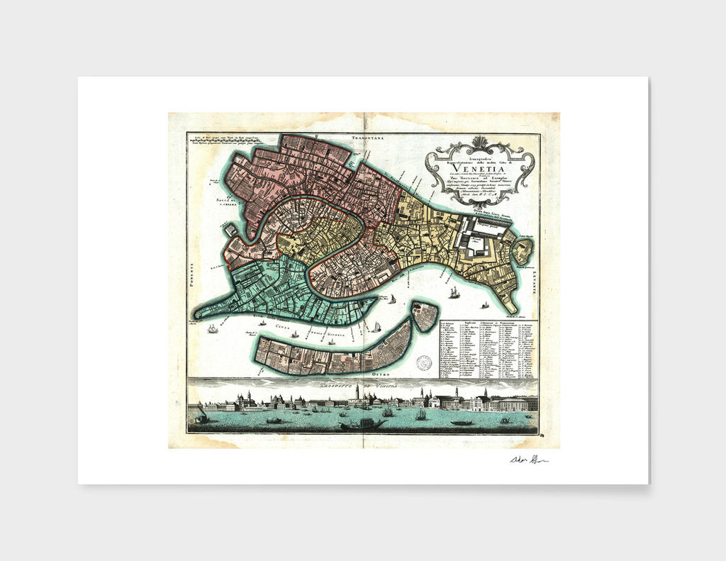 Vintage Map of Venice Italy (1729)