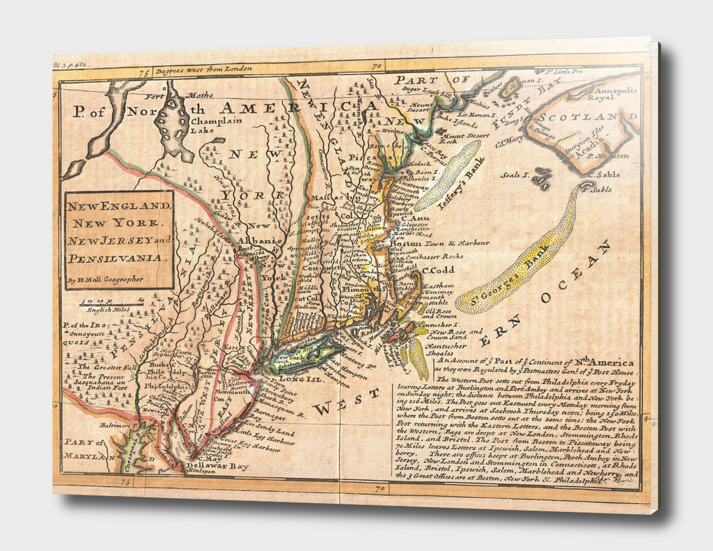 Vintage Map of New England (1729)