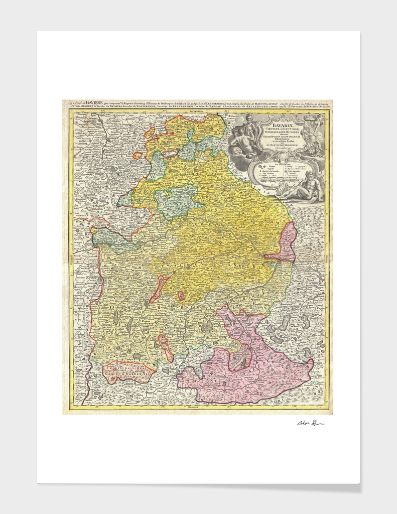 Vintage Map of Bavaria Germany (1728)