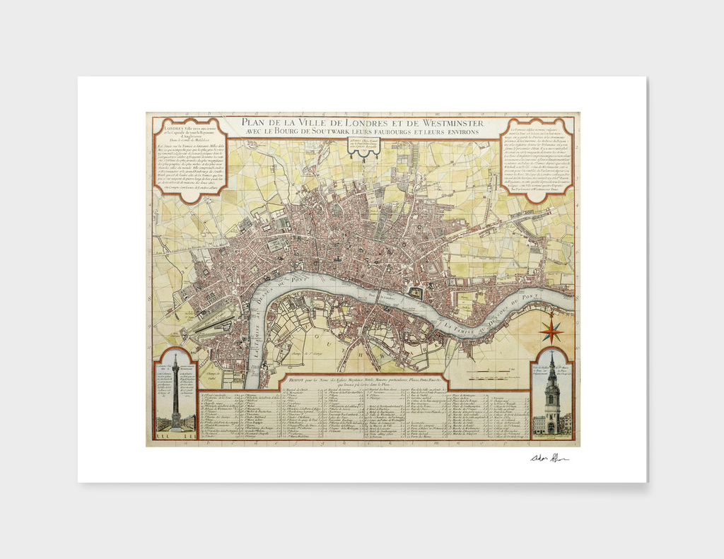 Vintage Map of London England (1727)