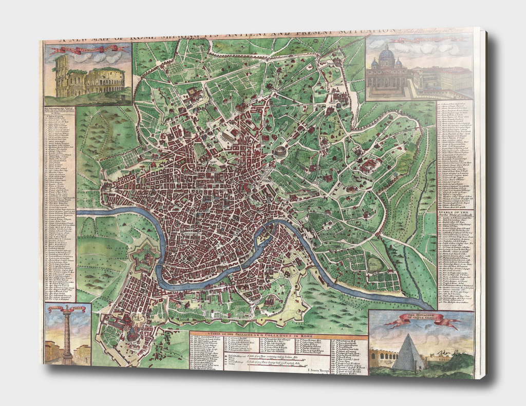 Vintage Map of Rome Italy (1721)