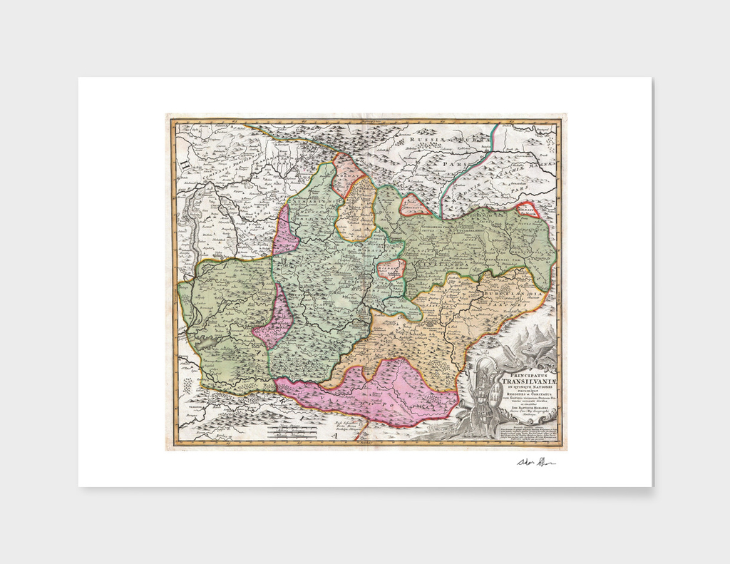 Vintage Map of Transylvania (1720)