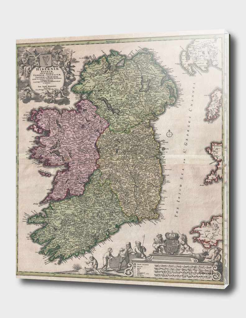 Vintage Map of Ireland (1716)