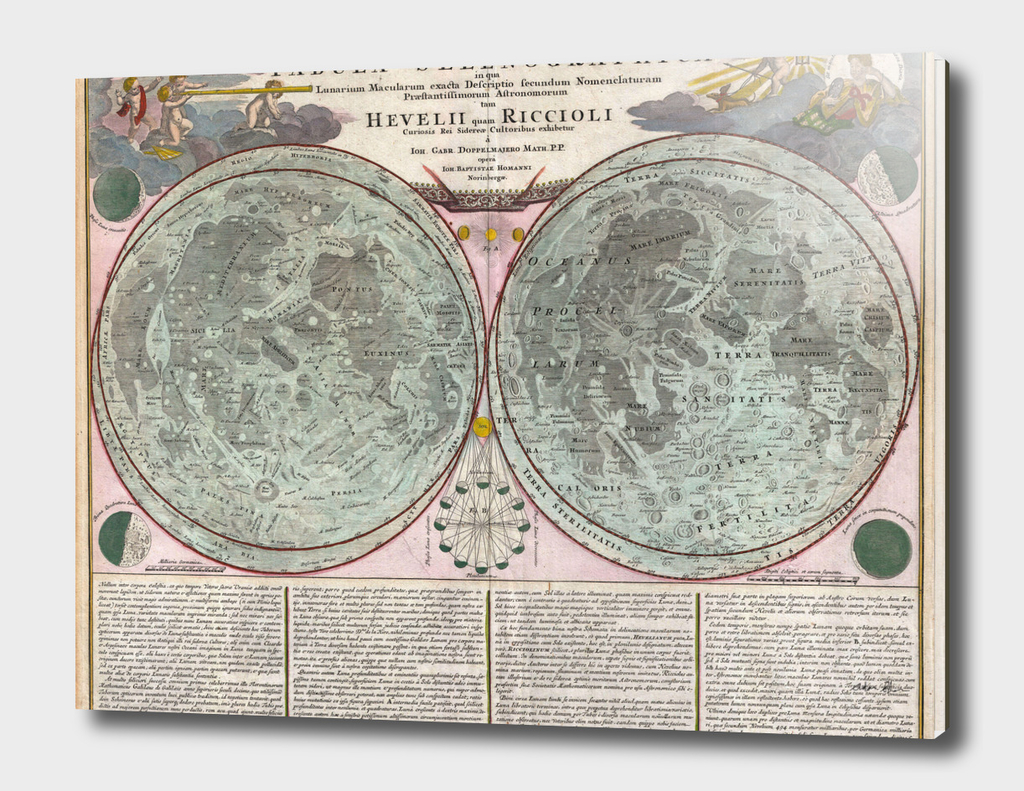 Vintage Map of The Moon (1707)