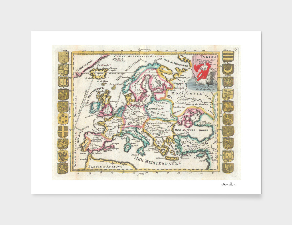 Vintage Map of Europe (1706)