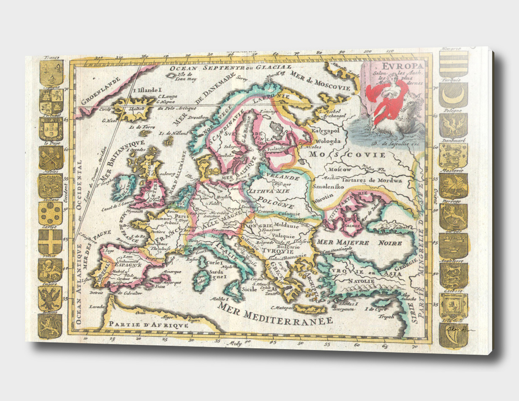 Vintage Map of Europe (1706)
