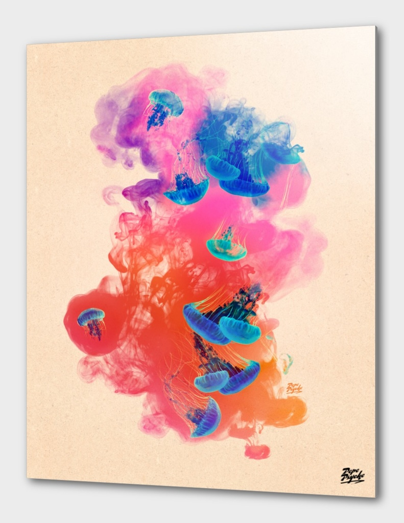 Psychedelic Ink Jellyfish Watercolor