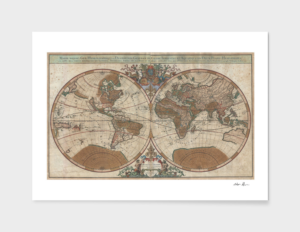 Vintage Map of The World (1691)