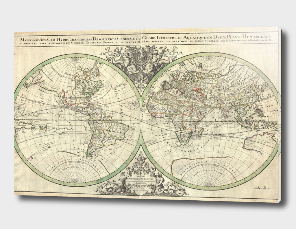 Vintage Map of The World (1691) 2
