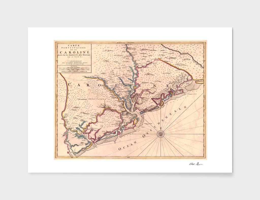 Vintage Map of Charleston South Carolina (1690)