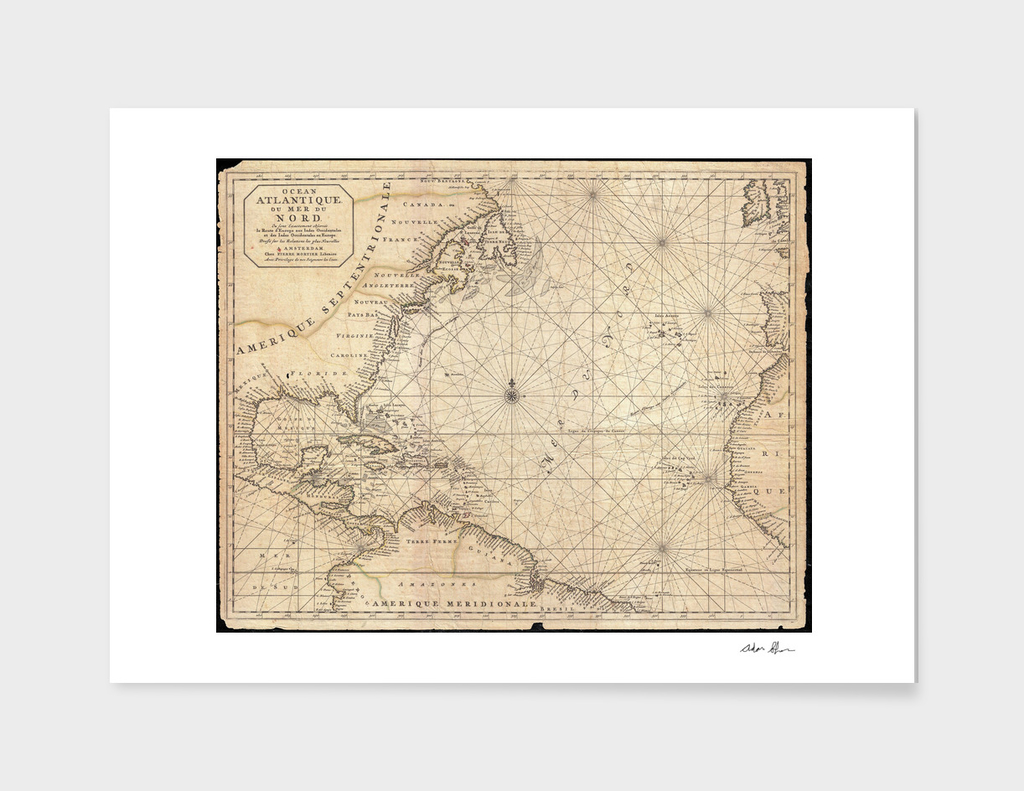 Vintage Map of The Atlantic Ocean (1683)