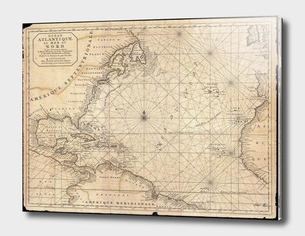 Vintage Map of The Atlantic Ocean (1683)