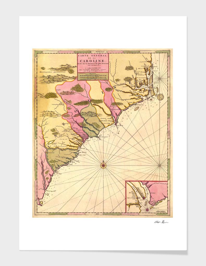 Vintage Map of South Carolina (1683)