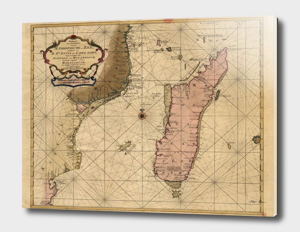 Vintage Map of Madagascar (1679)