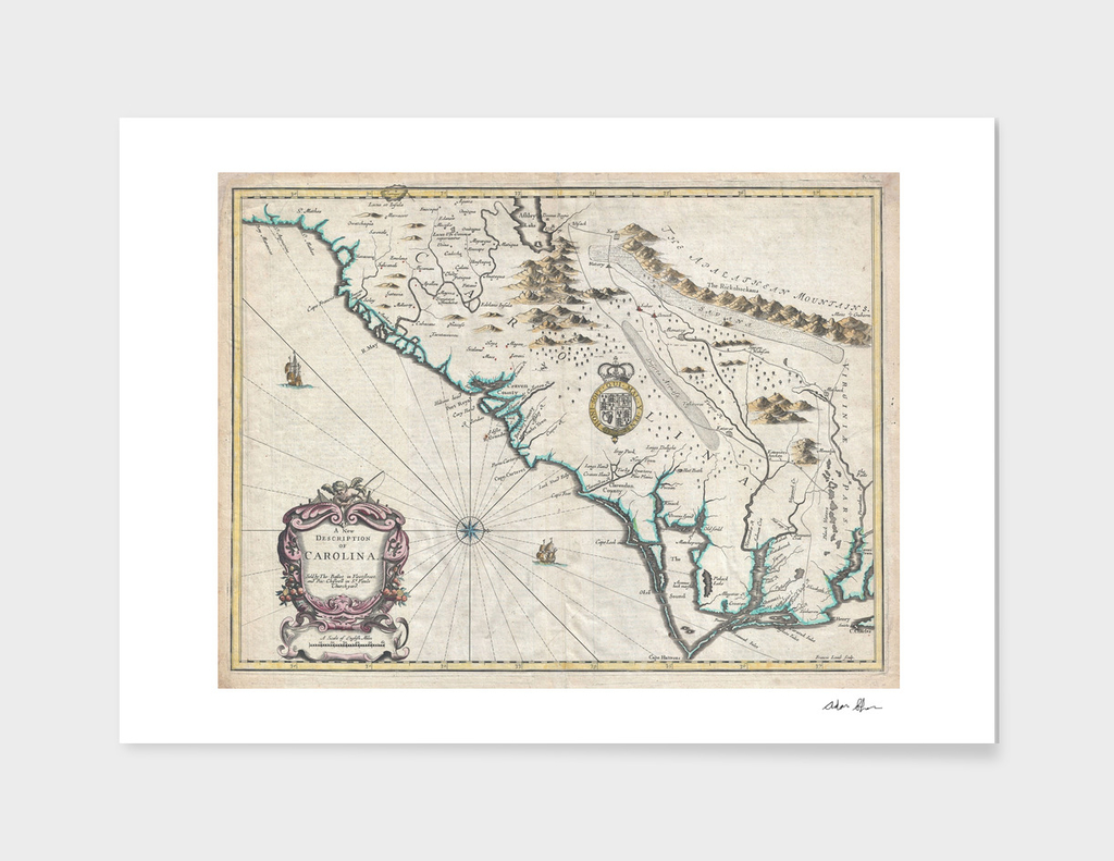 Vintage Map of North Carolina (1676)