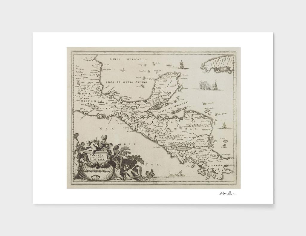 Vintage Map of The Yucatan Peninsula (1671)