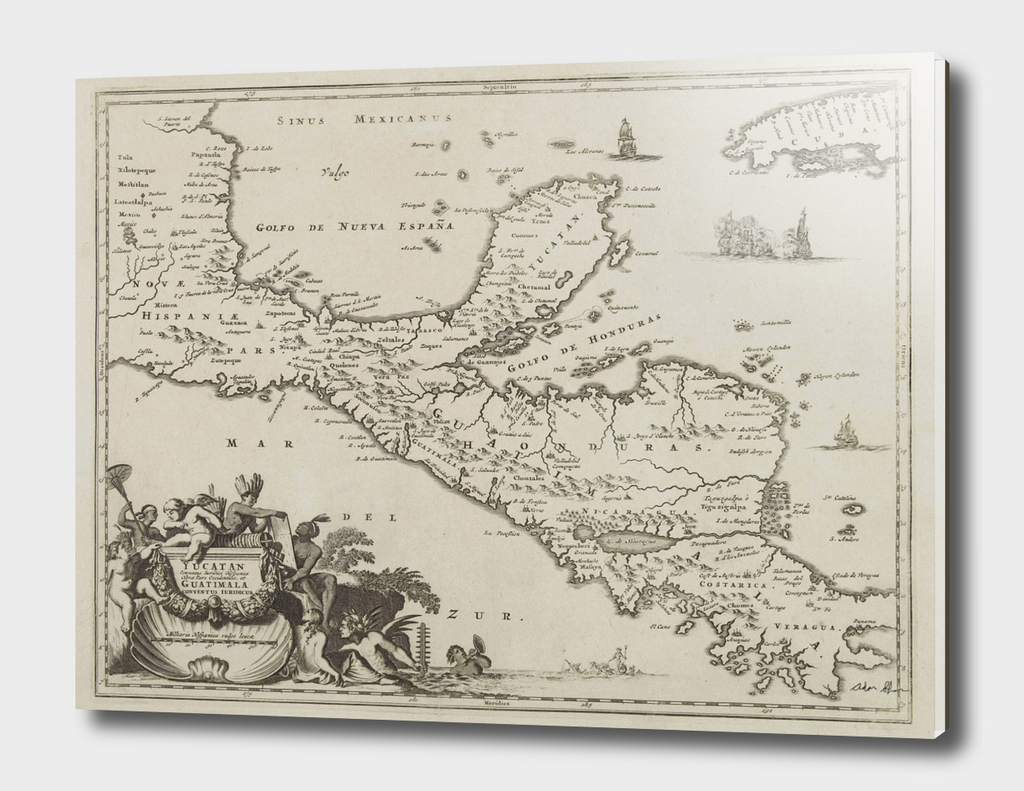 Vintage Map of The Yucatan Peninsula (1671)