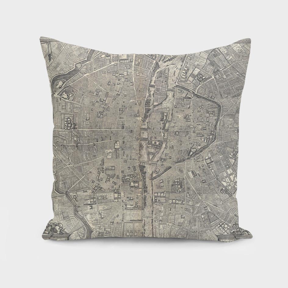 Vintage Map of Paris France (1652)
