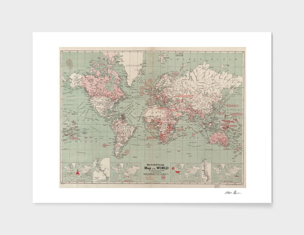 Vintage Map of The World (1918)
