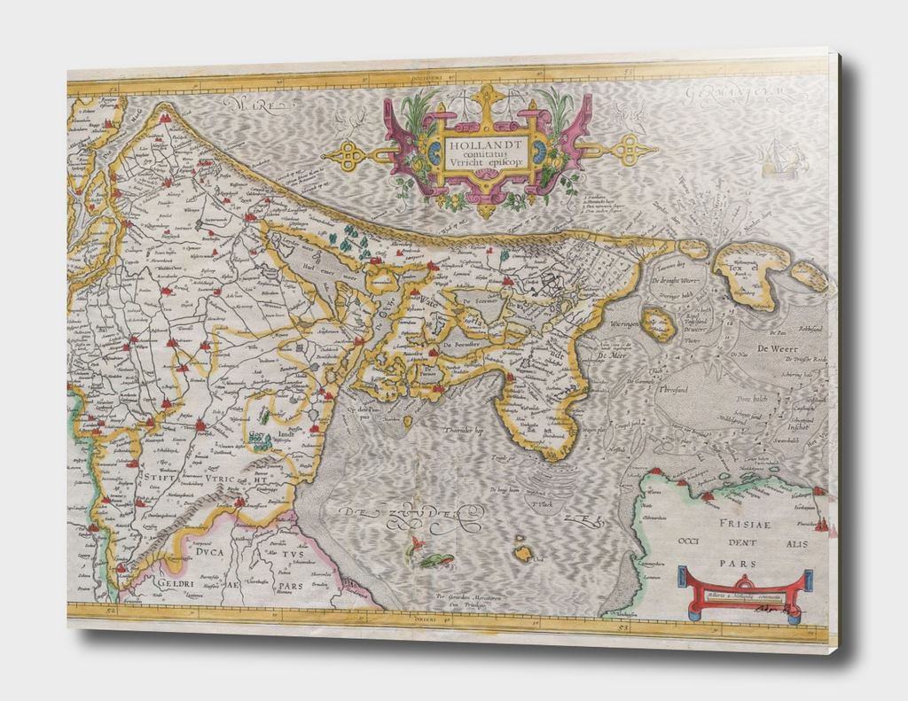 Vintage Map of Holland (1606)