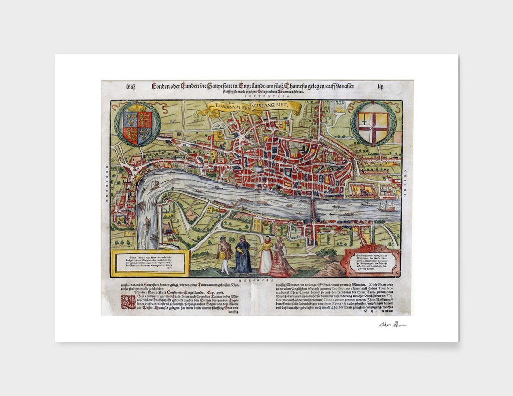 Vintage Map of London England (1598)