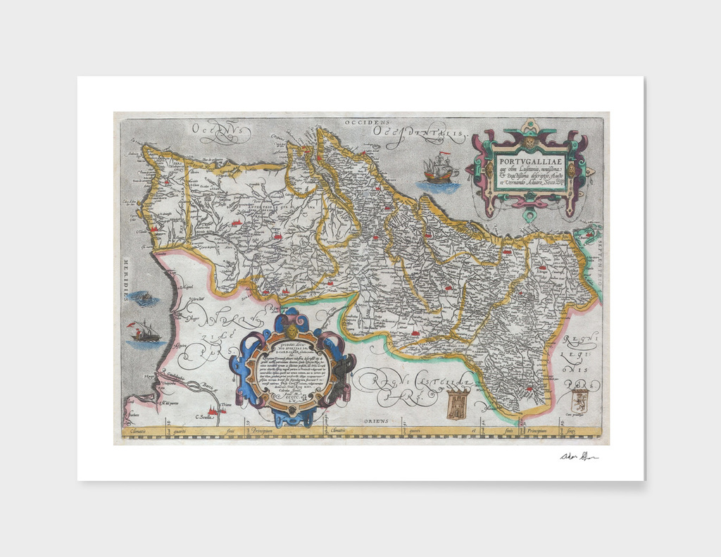 Vintage Map of Portugal (1579)