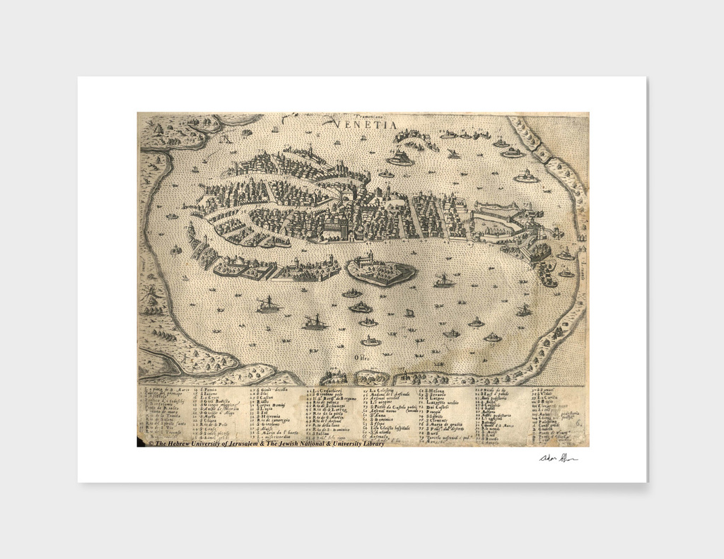 Vintage Map of Venice Italy (1573)