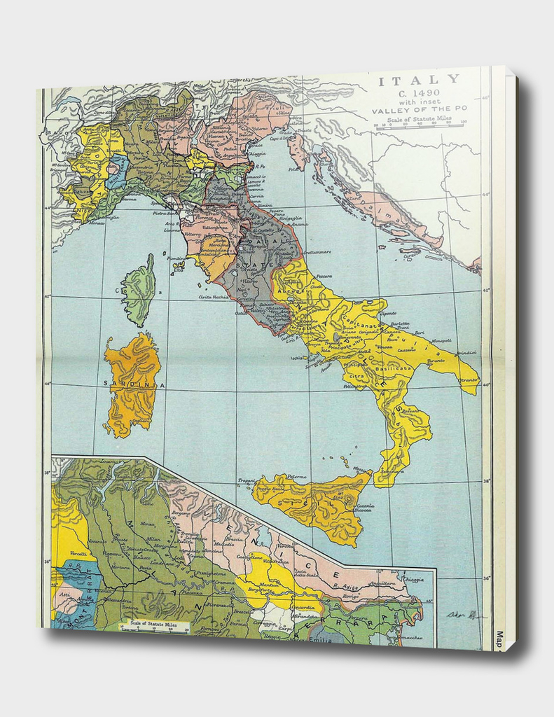 Vintage Map of Italy (1912)