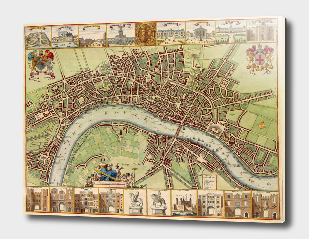 Vintage Map of London England (17th Century)