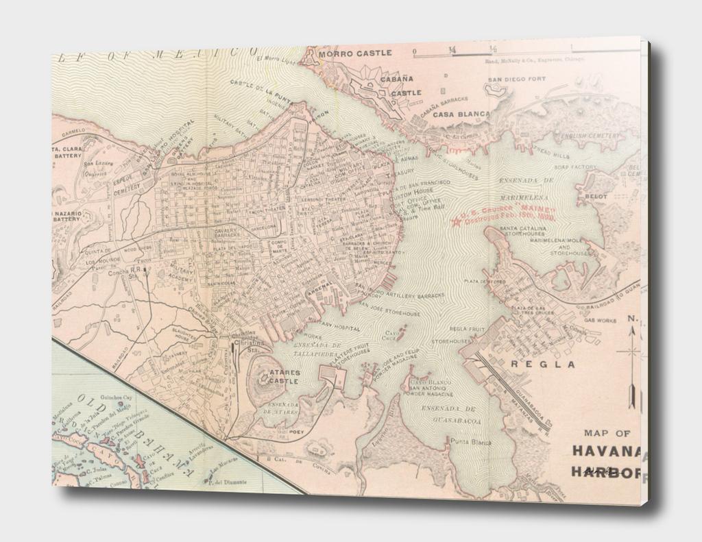 Vintage Map of Havana Cuba (1898)