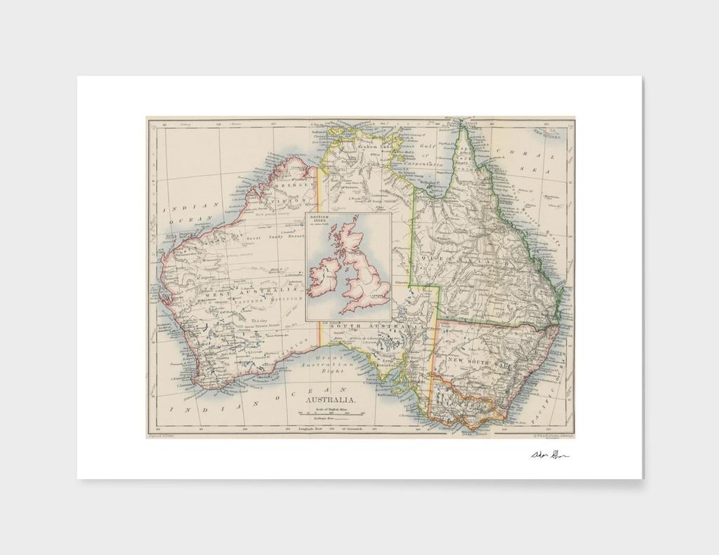 Vintage Australia and British Isles Comparison Map (1897)