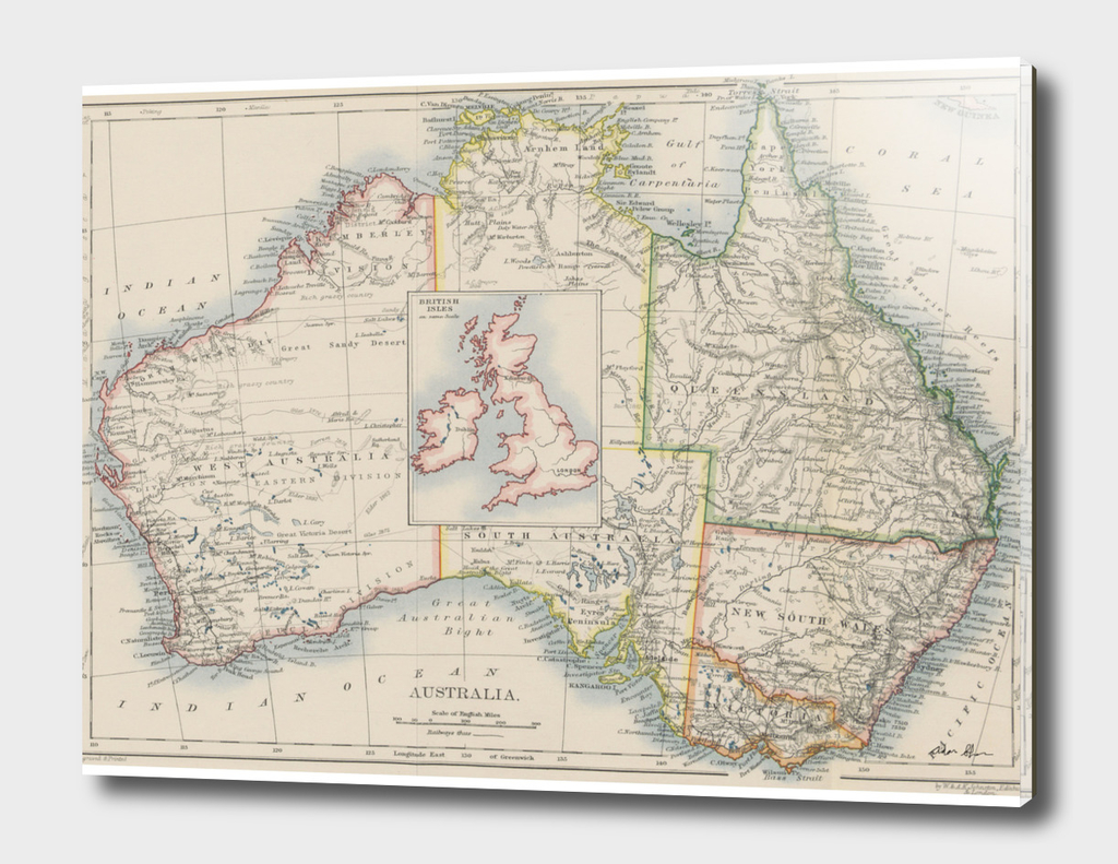Vintage Australia and British Isles Comparison Map (1897)