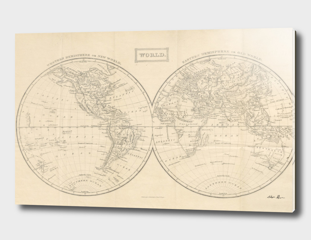 Vintage Map of The World (1857)
