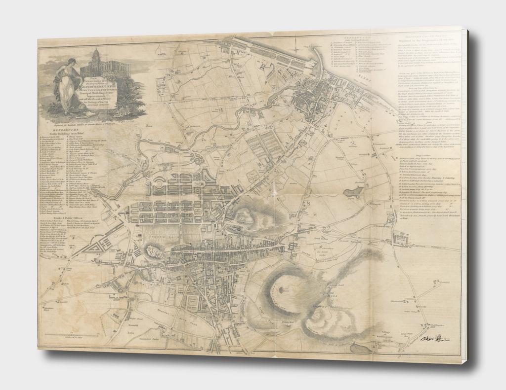 Vintage Map of Edinburgh Scotland (1818)