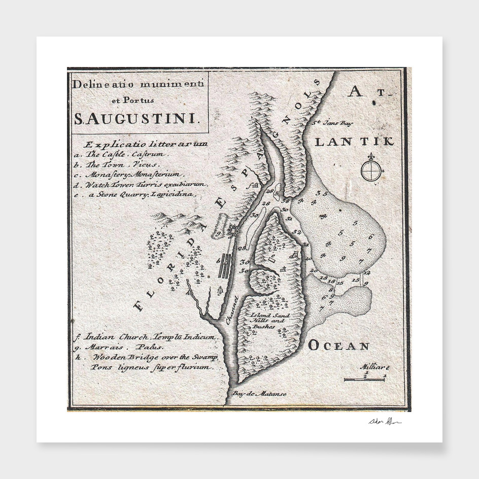 Vintage Map of St Augustine Florida (1737)