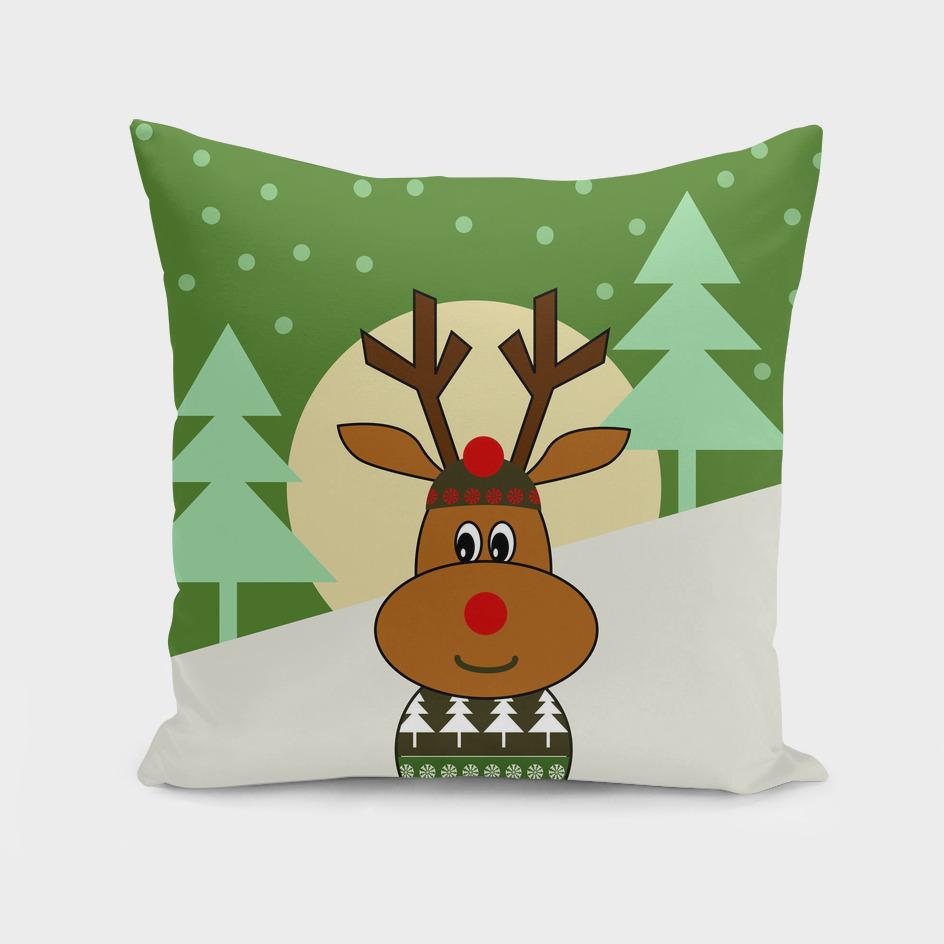 Cute reindeer in snow