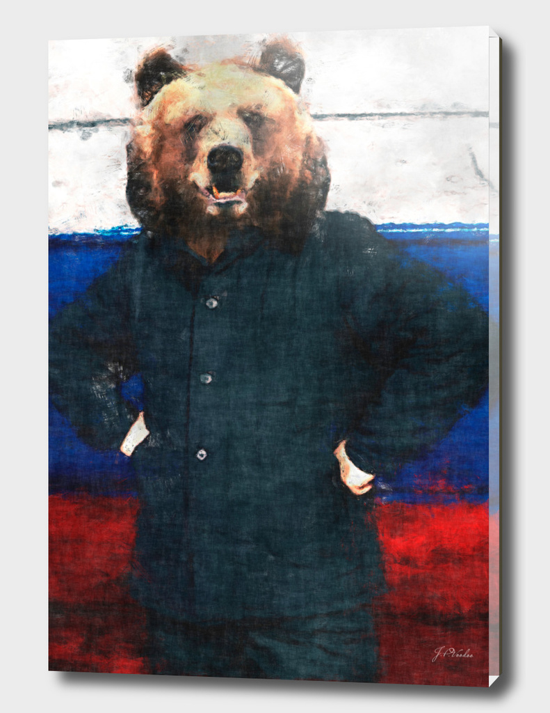 Russian bear with flag sketch