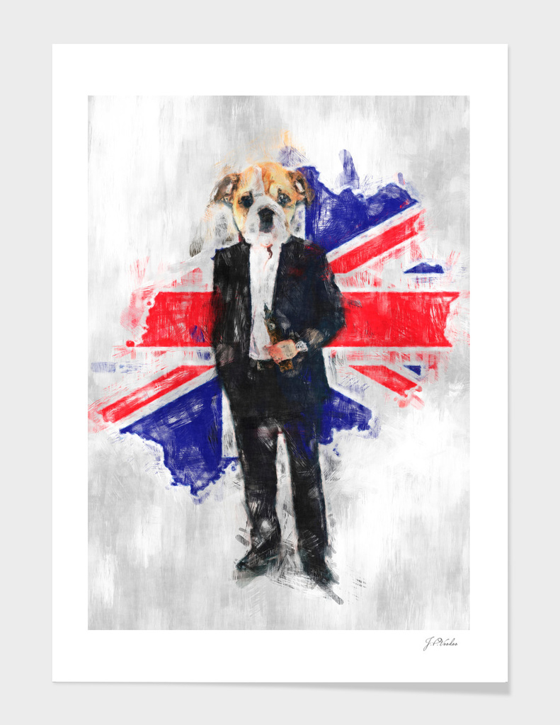 English Bulldog and Great Britain flag sketch
