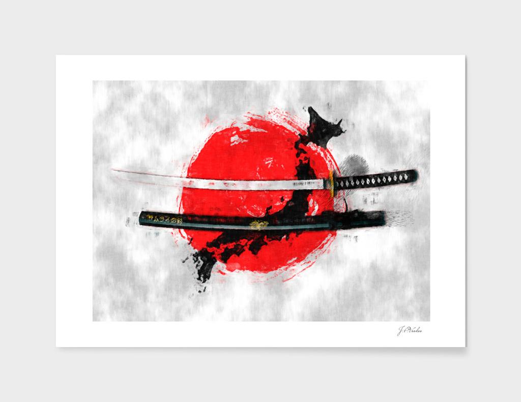Katana with Japan flag sketch