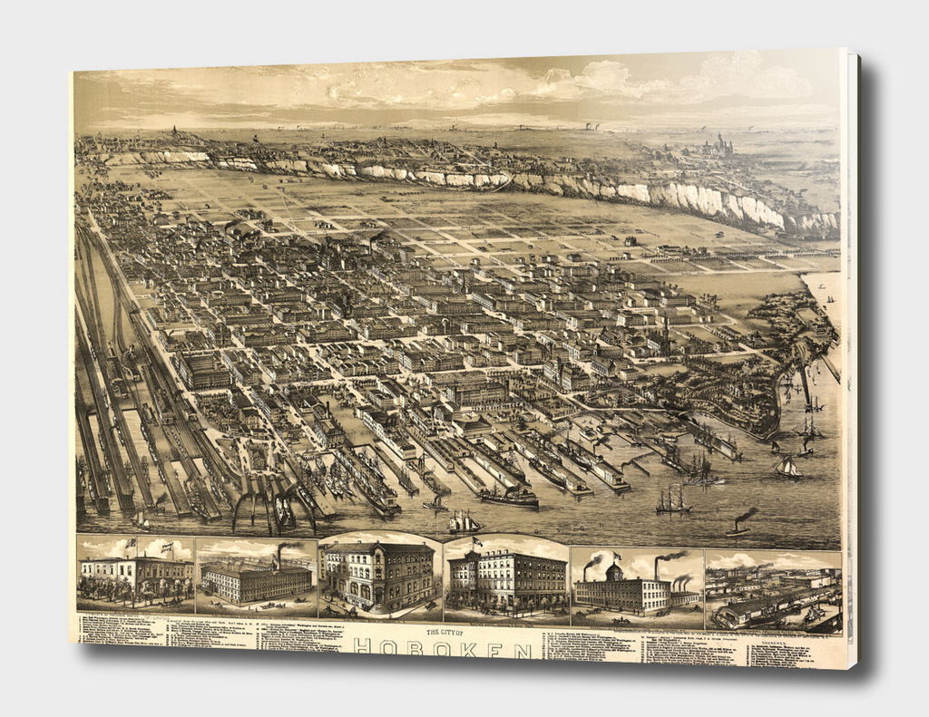 Vintage Pictorial Map of Hoboken New Jersey (1881)