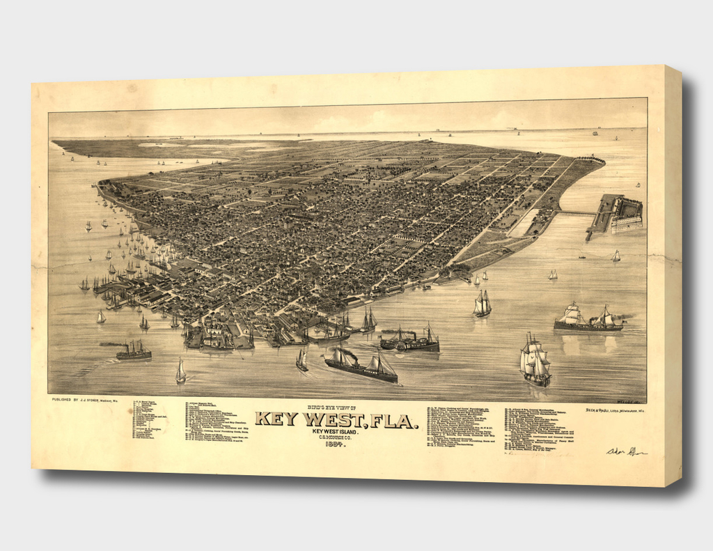 Vintage Pictorial Map of Key West Florida (1884)