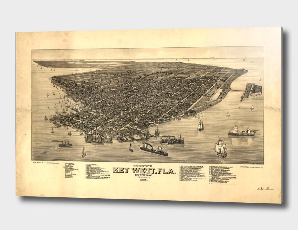 Vintage Pictorial Map of Key West Florida (1884)