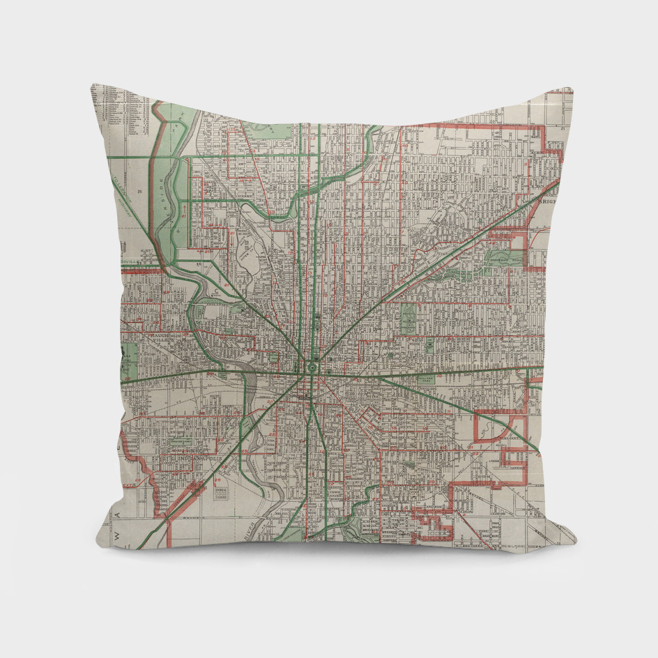 Vintage Map of Indianapolis Indiana (1921)