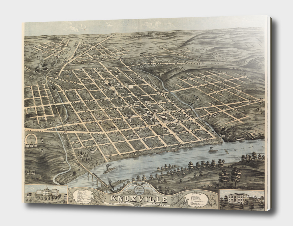 Vintage Pictorial Map of Knoxville Tennessee (1871)
