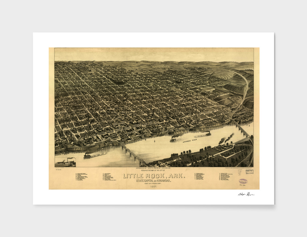 Vintage Pictorial Map of Little Rock Arkansas (1887)
