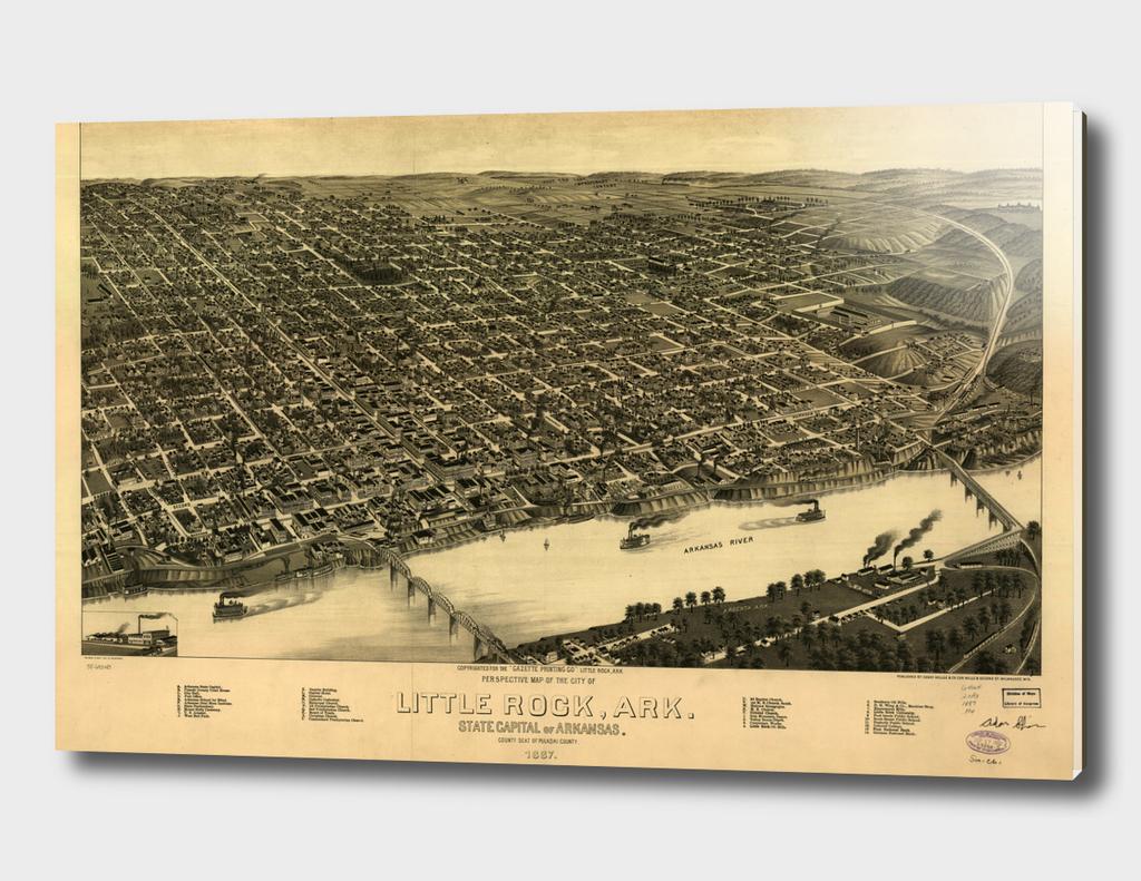 Vintage Pictorial Map of Little Rock Arkansas (1887)