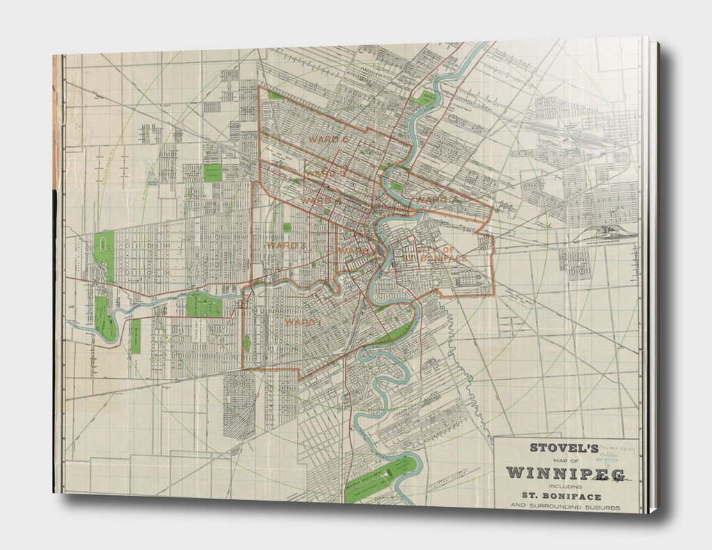 Vintage Map of Winnipeg Canada (1917)