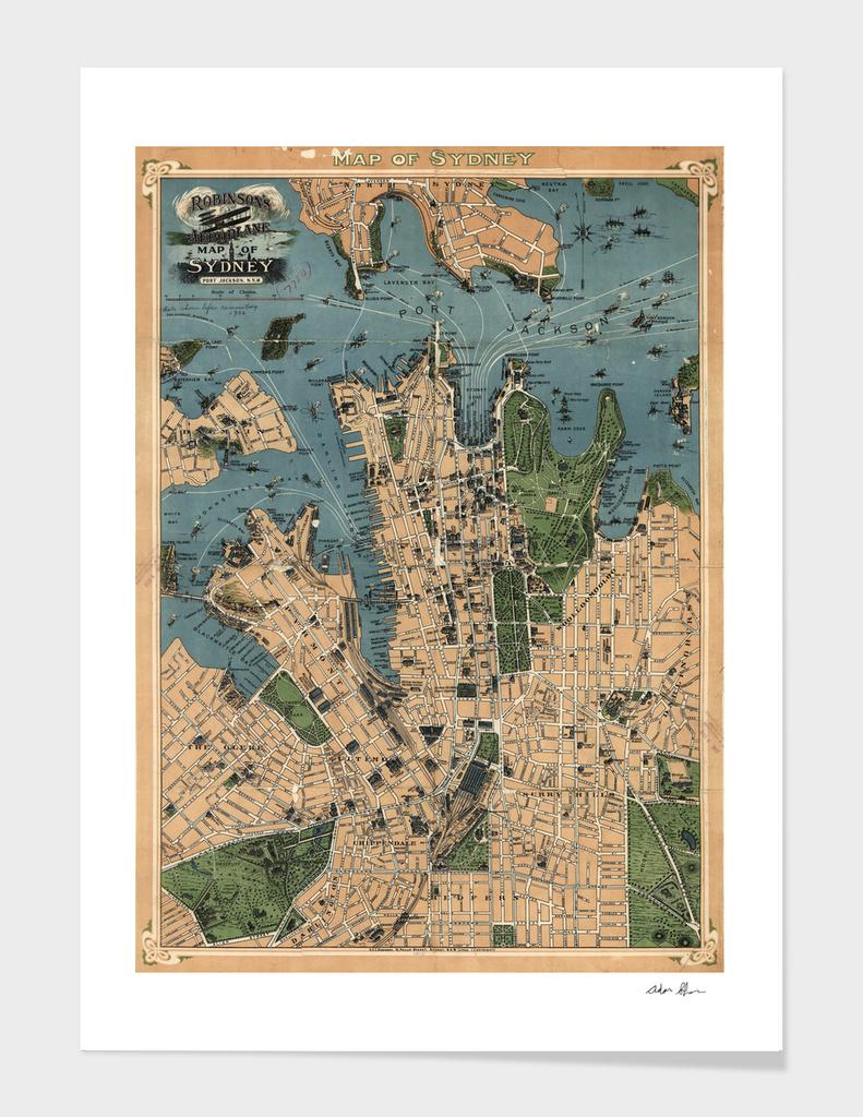 Vintage Map of Sydney Australia (1922)