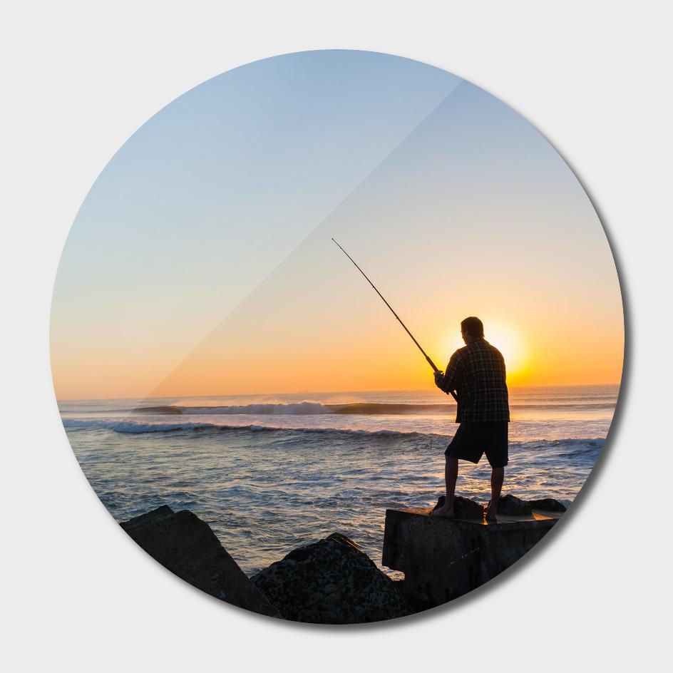 Fishing Fisherman Silhouetted Ocean