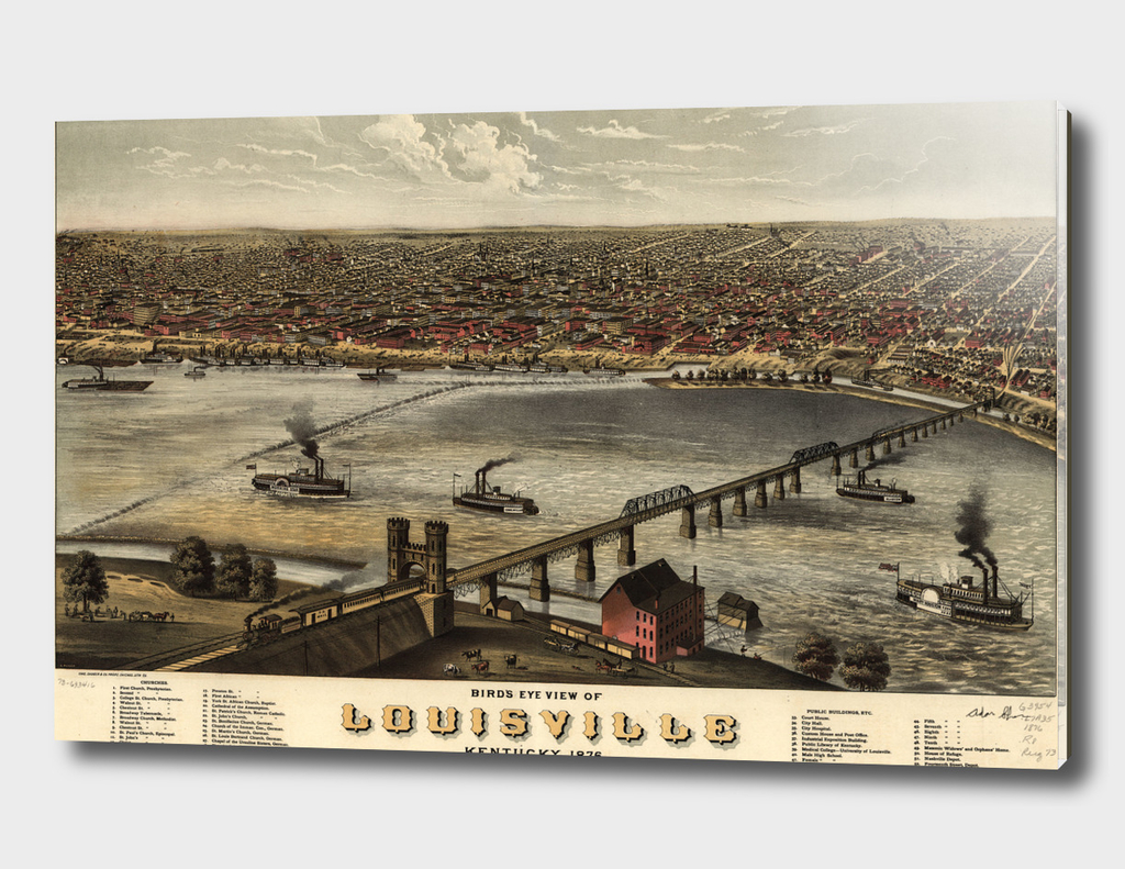 Vintage Pictorial Map of Louisville Kentucky (1876)